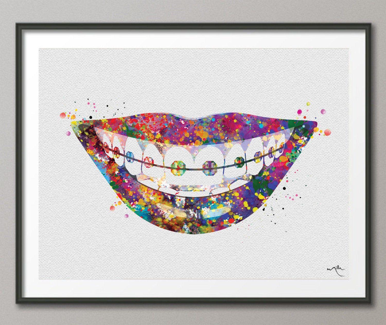 Tooth Bracelet Dentist Art Watercolor Print Dental Art Dentistry Clinic Office