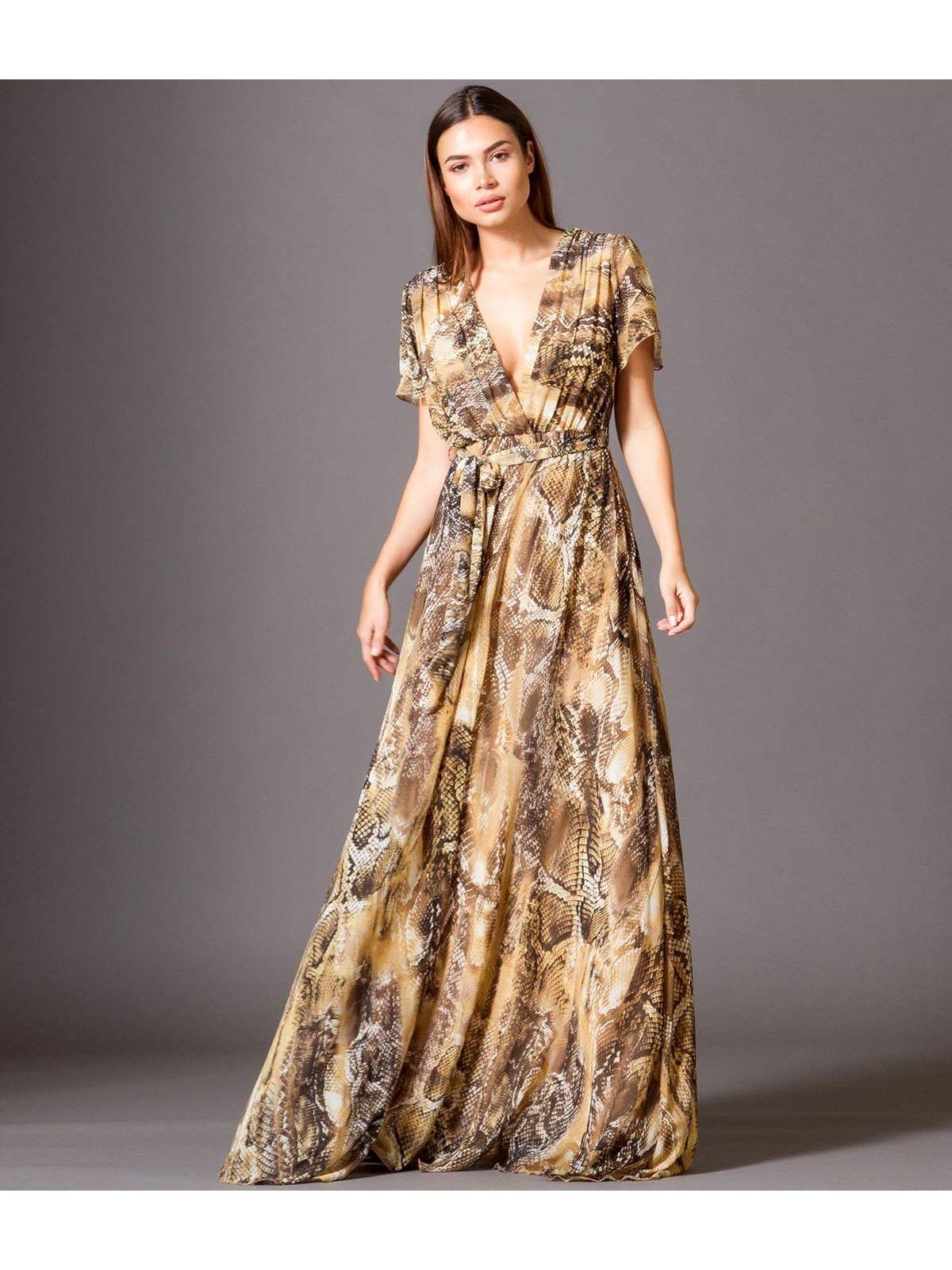 Eμπριμέ Maxi Φόρεμα με Βε και Βολάν - Εμπριμέ φιδέ  7547593a6ca