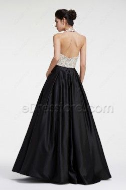 93d947c08 Black and White Beaded Sparkly Ball Gown Two Piece Prom Dresses ...