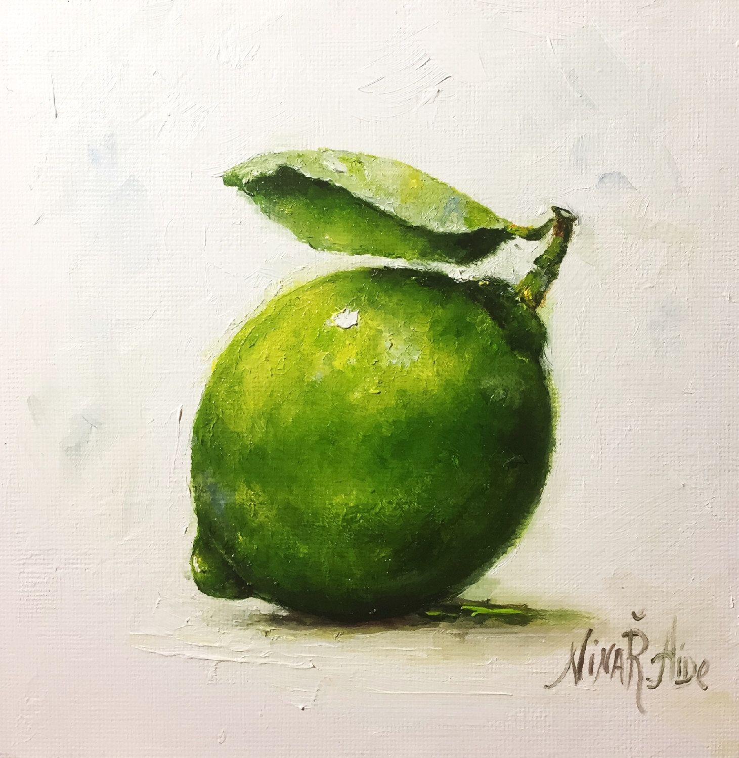 Lime Original Oil Painting by Nina R Aide Still Life Kitchen Art