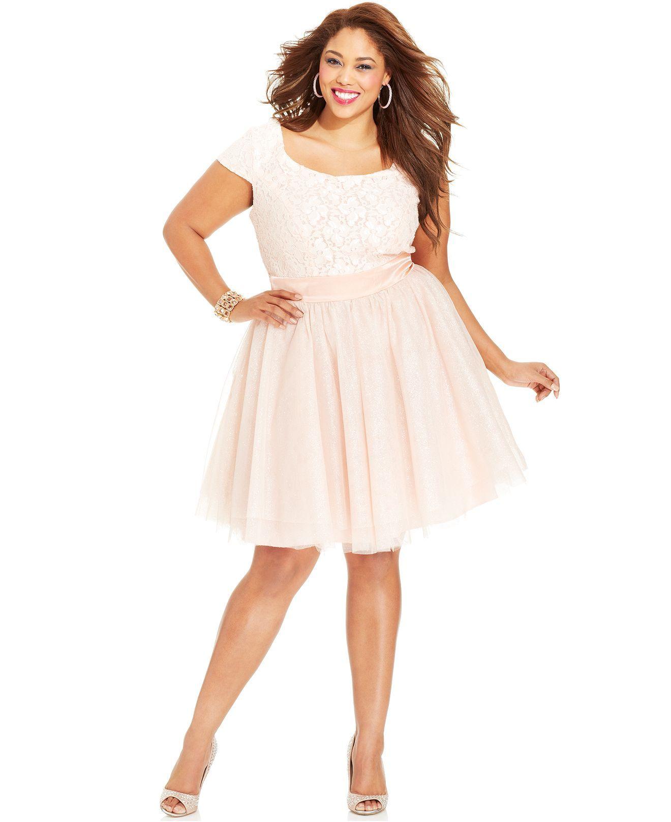 Trixxi Plus Size Cap-Sleeve Lace Tulle Dress - Plus Size Dresses ...