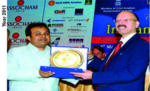 Frankfinn Institute of Air Hostess Trainingwas presented the award by Dr. Syed Zaidi, Secretary, Ministry of Civil Aviation for 'The Best Training Institute - 2011' . Mr.Samir Valia, President accepted the award on behalf of Frankfinn Institute on the occasion of the Centenary Conference of Indian Civil Aviation organized by ASSOCHAM.