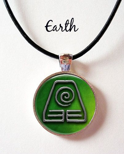 Last Airbender Earth Elements Symbol Pendant With Leather Cord
