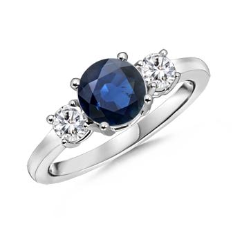 Angara Trellis Sapphire Diamond Three Stone Engagement Ring in Yellow Gold A1h7U