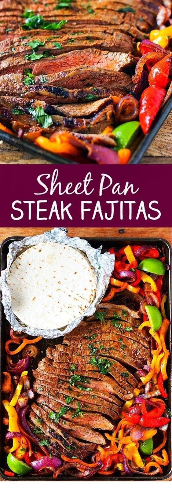 Sheet Pan Steak Fajitas #beefsteakrecipe