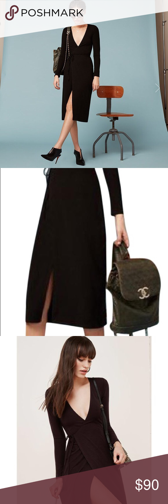 57378c0b79e Reformation Cyan Wrap Dress Black Stretchy