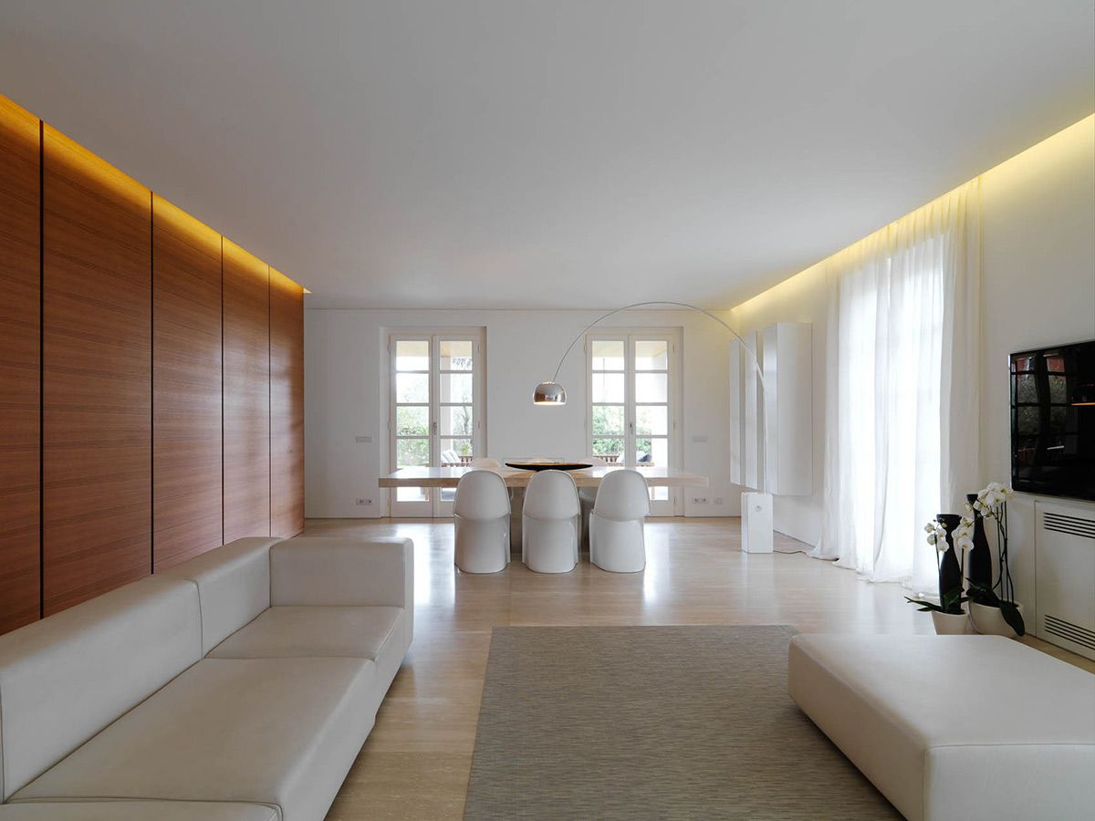 dining table, lighting, minimalist interior in tuscany, italy