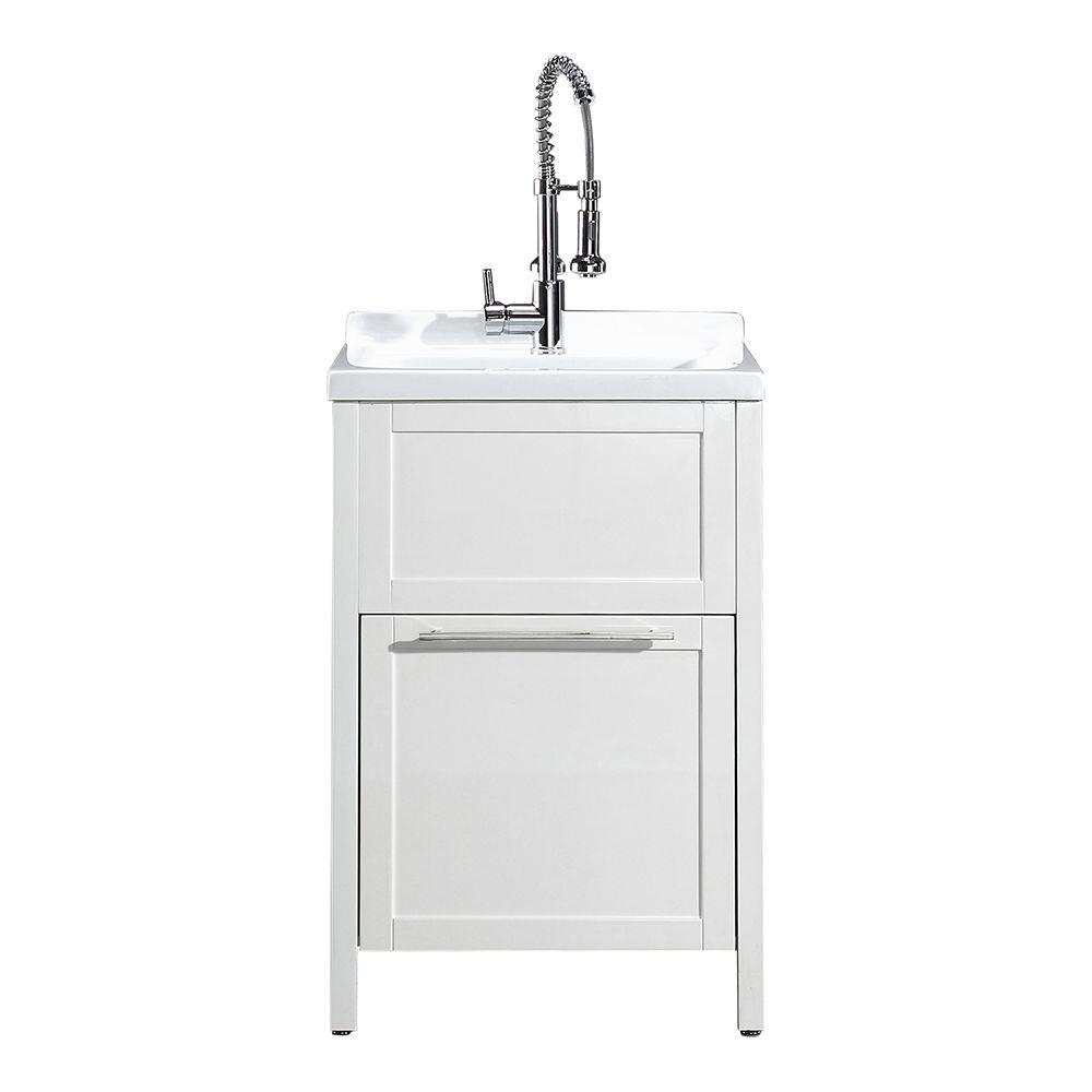 Schon Eleni All In One Kit 24 In X 22 In X 37 8 In Acrylic Utility Sink With Cabinet In White Mo 1067w The Home Depot In 2020 Utility Sink Laundry Room Sink Sink Cabinet