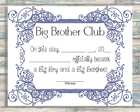 Big Brother Club Big Brother Certificate Etsy In 2021 Big Brother Big Brother Big Sister Big Brother Little Sister