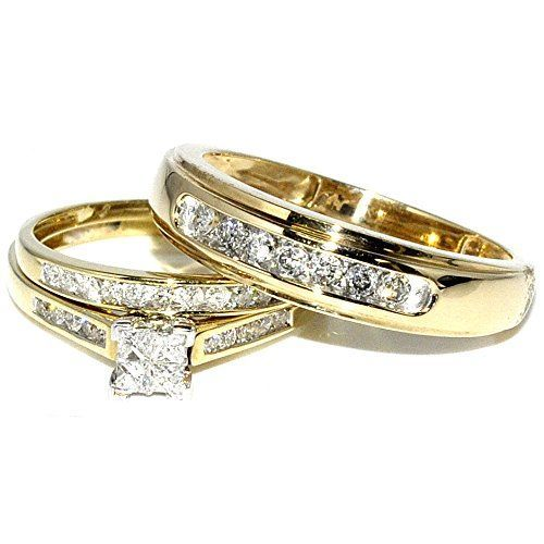 princess cut trio wedding rings set his and hers diamonds 075ct 10k gold yellow gold - Trio Wedding Ring Sets