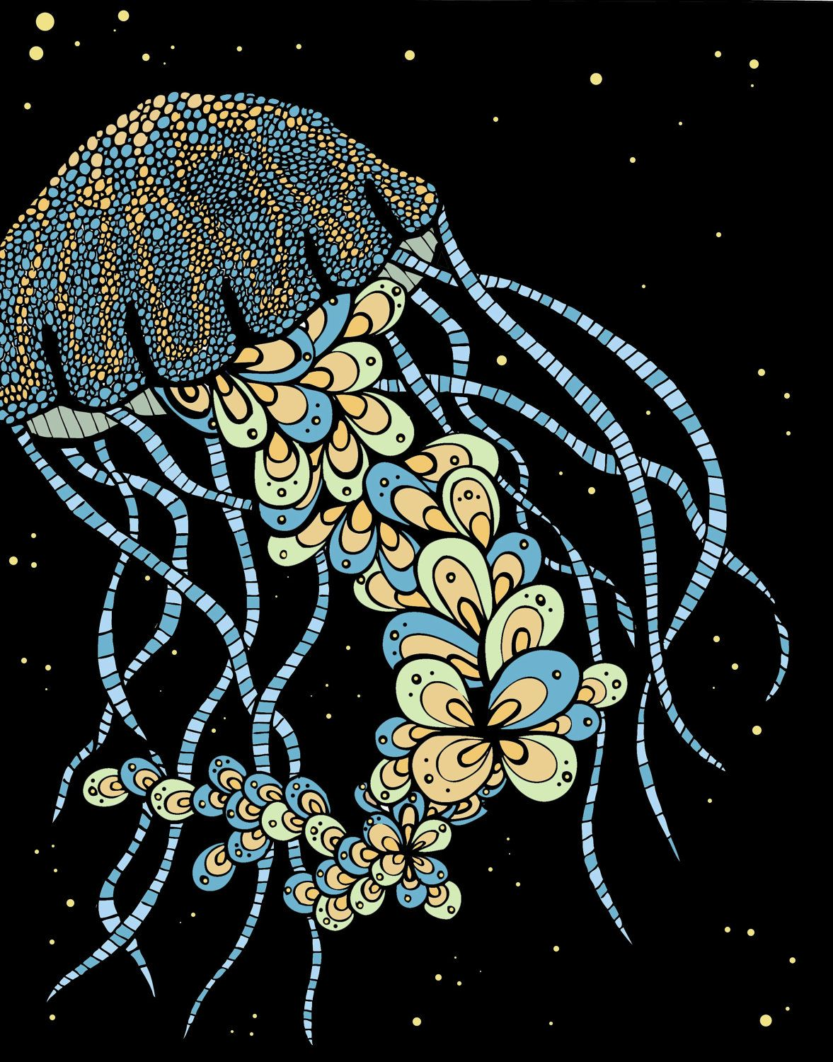 "Jellyfish Drawing Brightly colored ""glowing jelly"". $20.00, via Etsy."