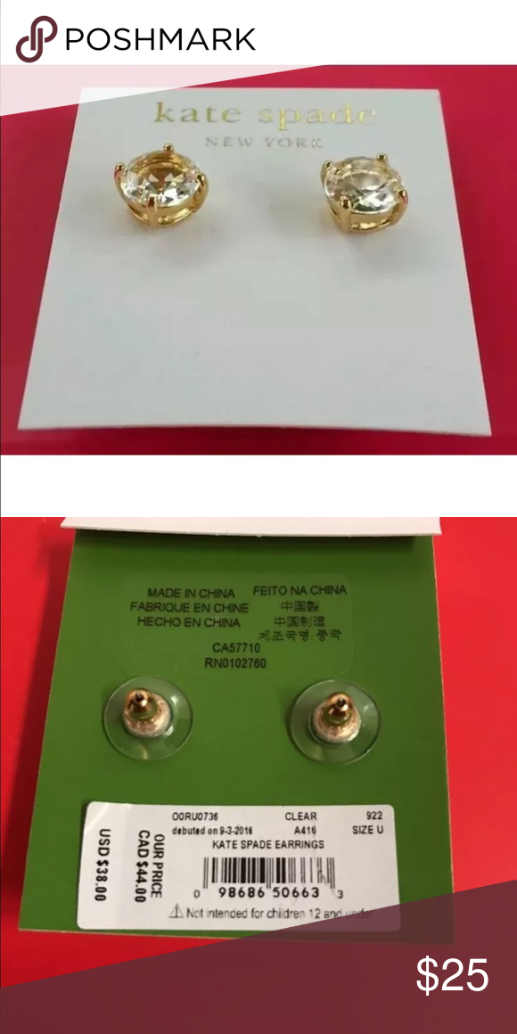 """Kate spade gold studs NEW Kate Spade NY Clear Gum Drop Studs Earrings                                                   New                                               100% AUTHENTIC   Style: OORU0666  MSRP:$38.00   14k Gold Fill                                                      Size approx: Diameter 3/8"""" kate spade Jewelry Earrings"""