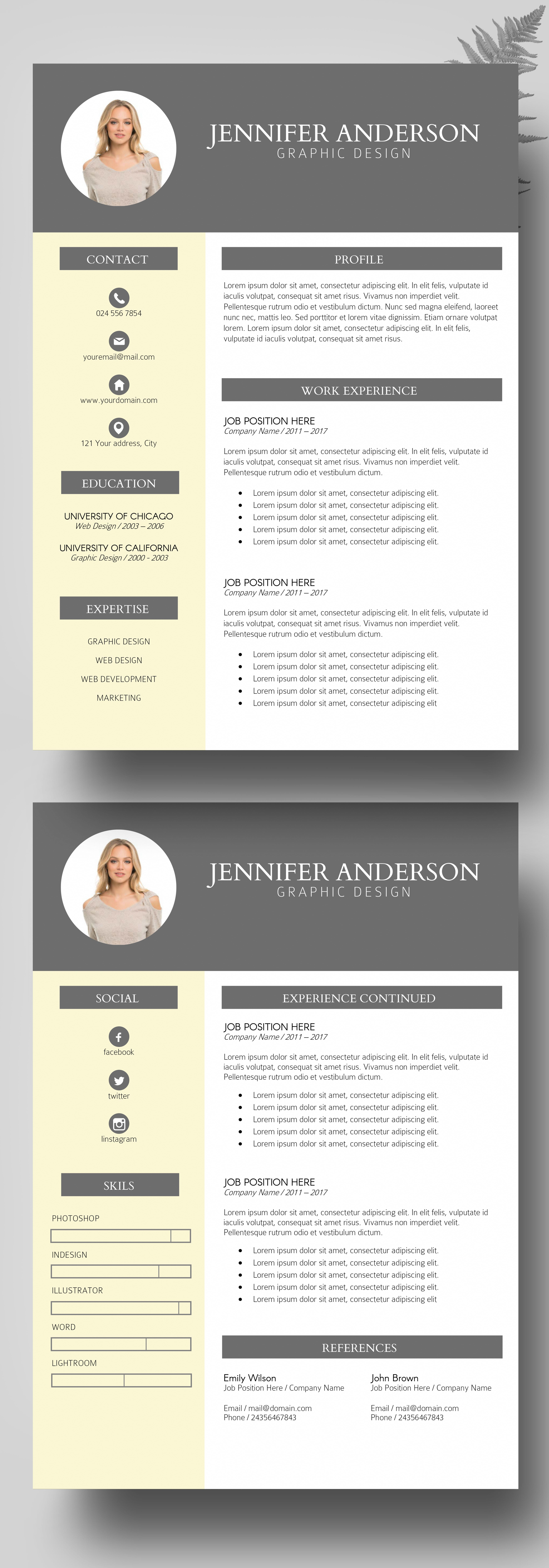 photo resume instant download  resume bundles  modern