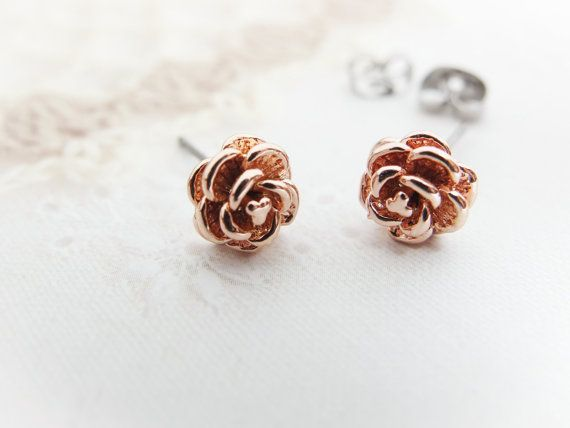 e376b259e Rose Earrings Rose gold earrings Cute earring studs Rose gold stud earring  Gift bridesmaids Gift mom Birthday Gift best friend Birthday