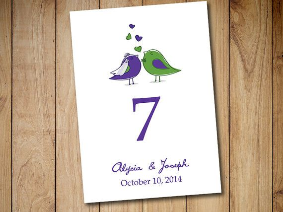 Printable Wedding Table Number Template Love Bird Bride Groom Regency Purple Green Card Instant By Paintthedaydesigns