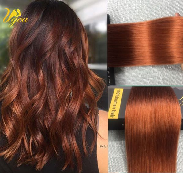 Ombre Seamless Glue Tape In Human Hair Extensions Auburn Real Sikn Weft Straight