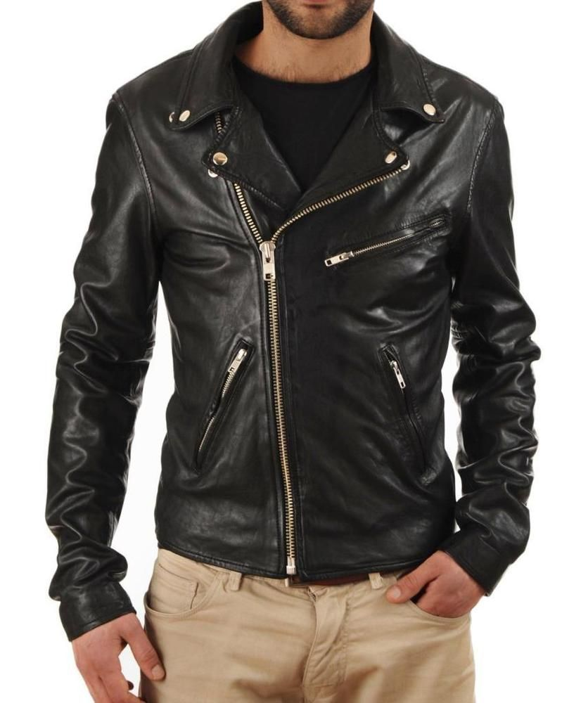 Mens Premium Slim Motorcycle Rider Denim Jean Jacket Blue Black S M L