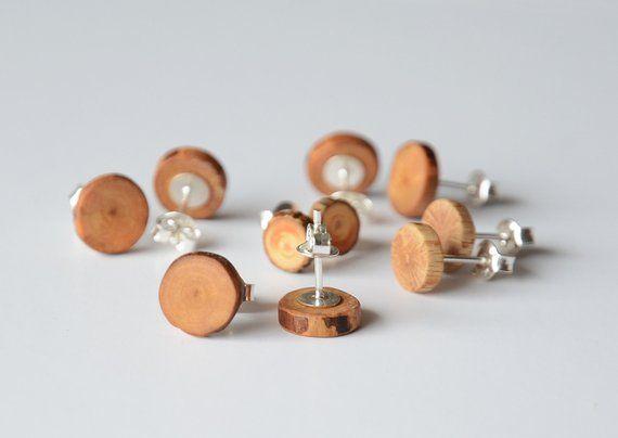 Mens Wooden Earrings Men Post Stud Natural Wood Earring Minimal