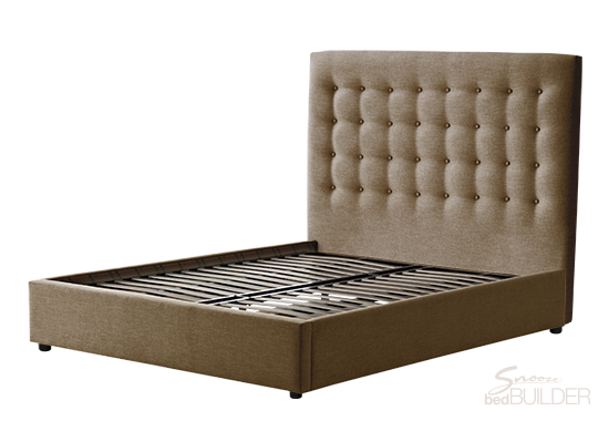 Customised Venus King Bed with gas lift storage grey