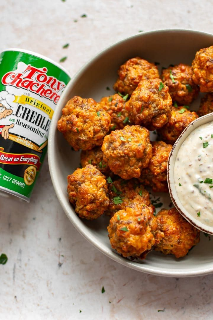 Creole Sausage Balls with Remoulade Dipping Sauce • Salt & Lavender