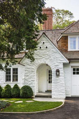 White Stone Exterior brown roof, white house | new house! | pinterest | white stone