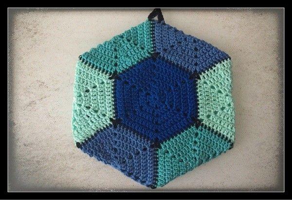 Häkelanleiung 6 eckiger Topflappen (doppelt), Hexagon #weihnachtsmarktideenverkauf