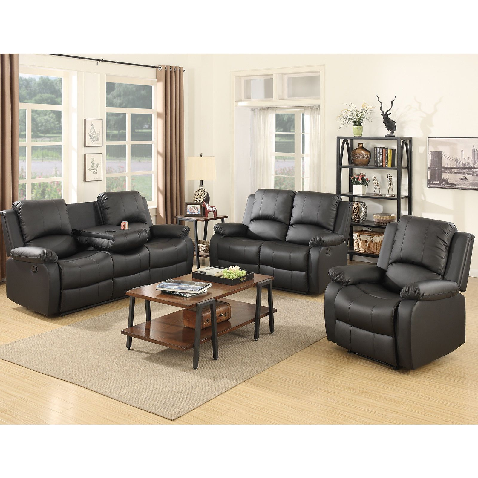 1049 90 Leather 3 2 1 Seater Recliner Sofa Set Loveseat Couch Chaise Chair W Cup Holder Living Room Sets Furniture Living Room Leather Couch And Loveseat
