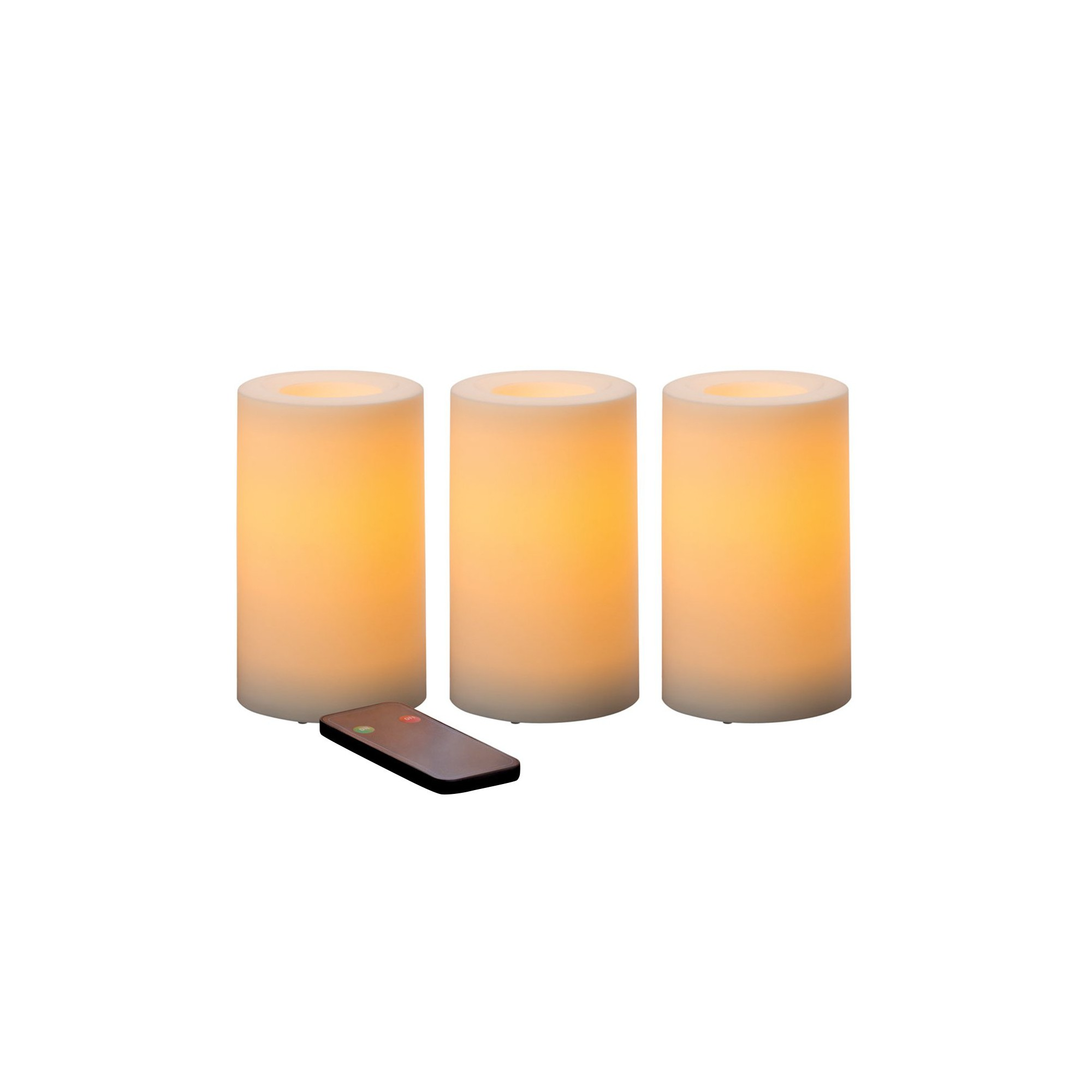 "Outdoor Flameless Candles New 3Pc Outdoor Flameless Led Pillar Candle With Remote Control 3""x5 Design Decoration"