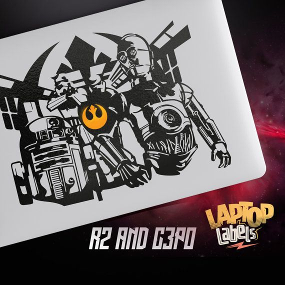R2d2 and c3po star wars macbook decal