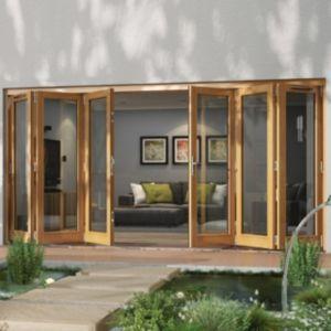 Golden Oak Timber Glazed Folding Patio Door H 2094mm W 4794mm