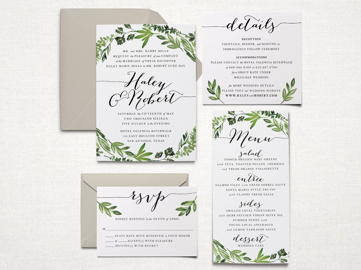 Printable Wedding Invitation Suite Botanical by SagePapeterie