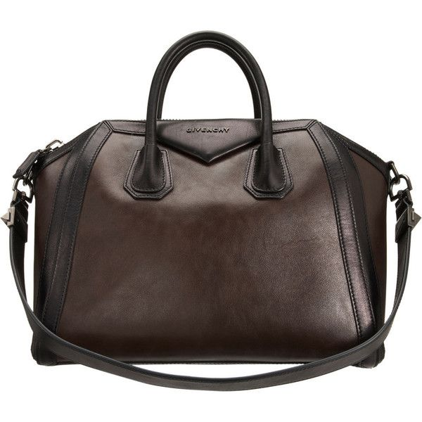 f64722e723 Givenchy Bicolor Medium Antigona Duffel - Dark Brown Black ( 929) ❤ liked  on Polyvore featuring bags