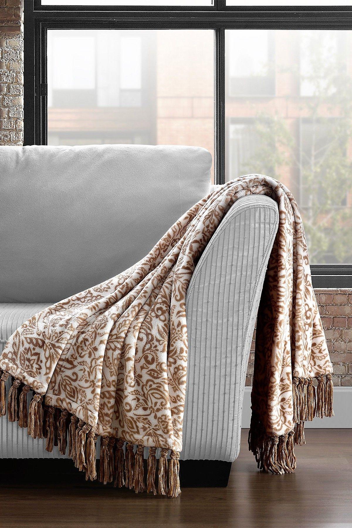 Cozy Home Oversized Coral Fleece Plush Fringed Throw Damask