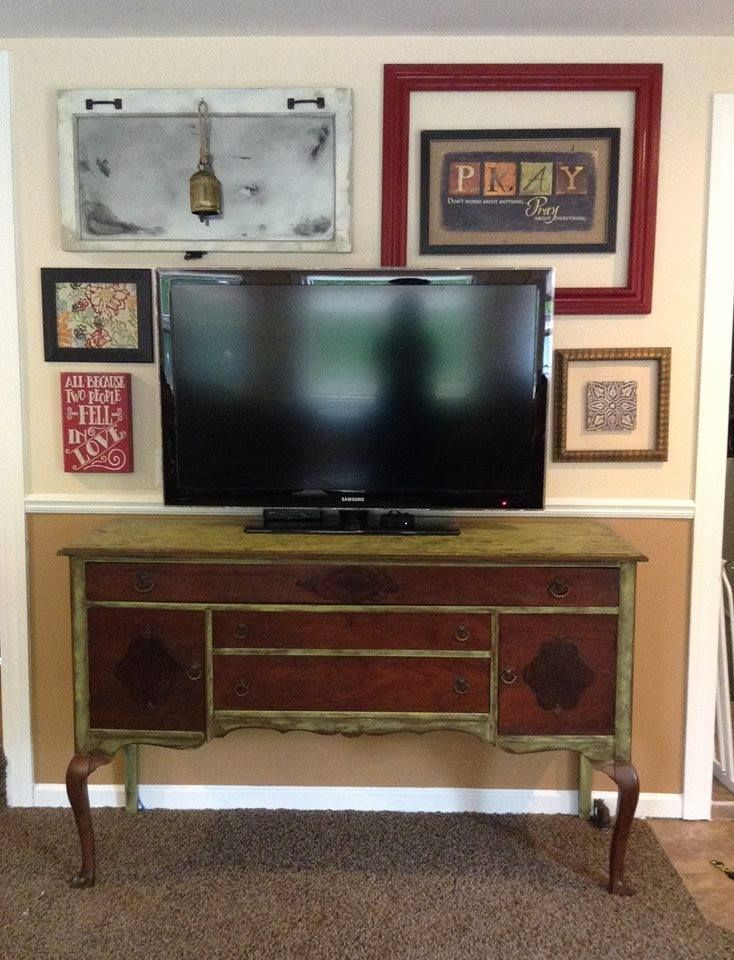 Antique Buffet Painted And Now Used As Tv Stand