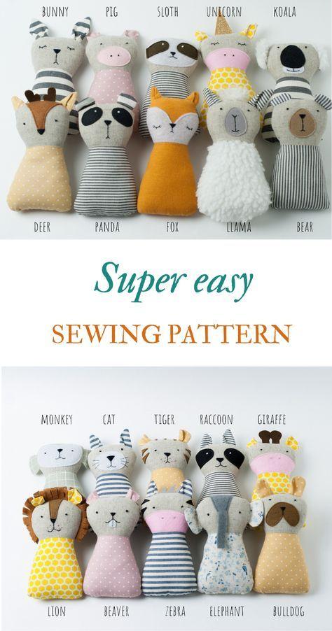 Animal dolls sewing pattern PDF Animal stuffed Han