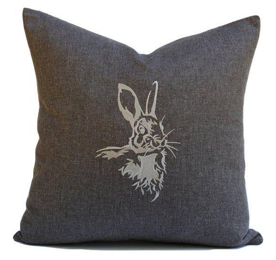 Woodland Animals Nursery Decor Rabbit Silhouette Pillow Bunny Throw Pillow Woodland Nursery Hare Emb