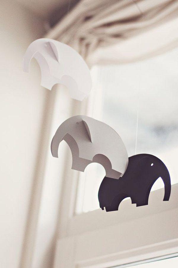 moviles de papel para bebes elefantes