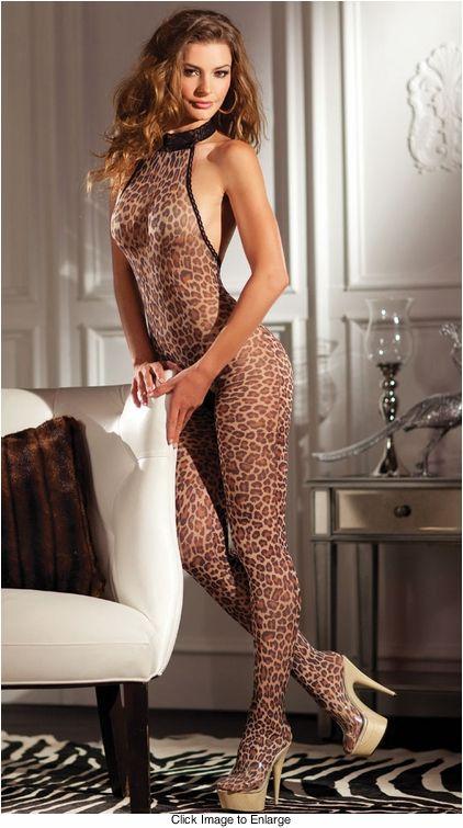 31f37c69341 Leopard Print Halter Bodystocking