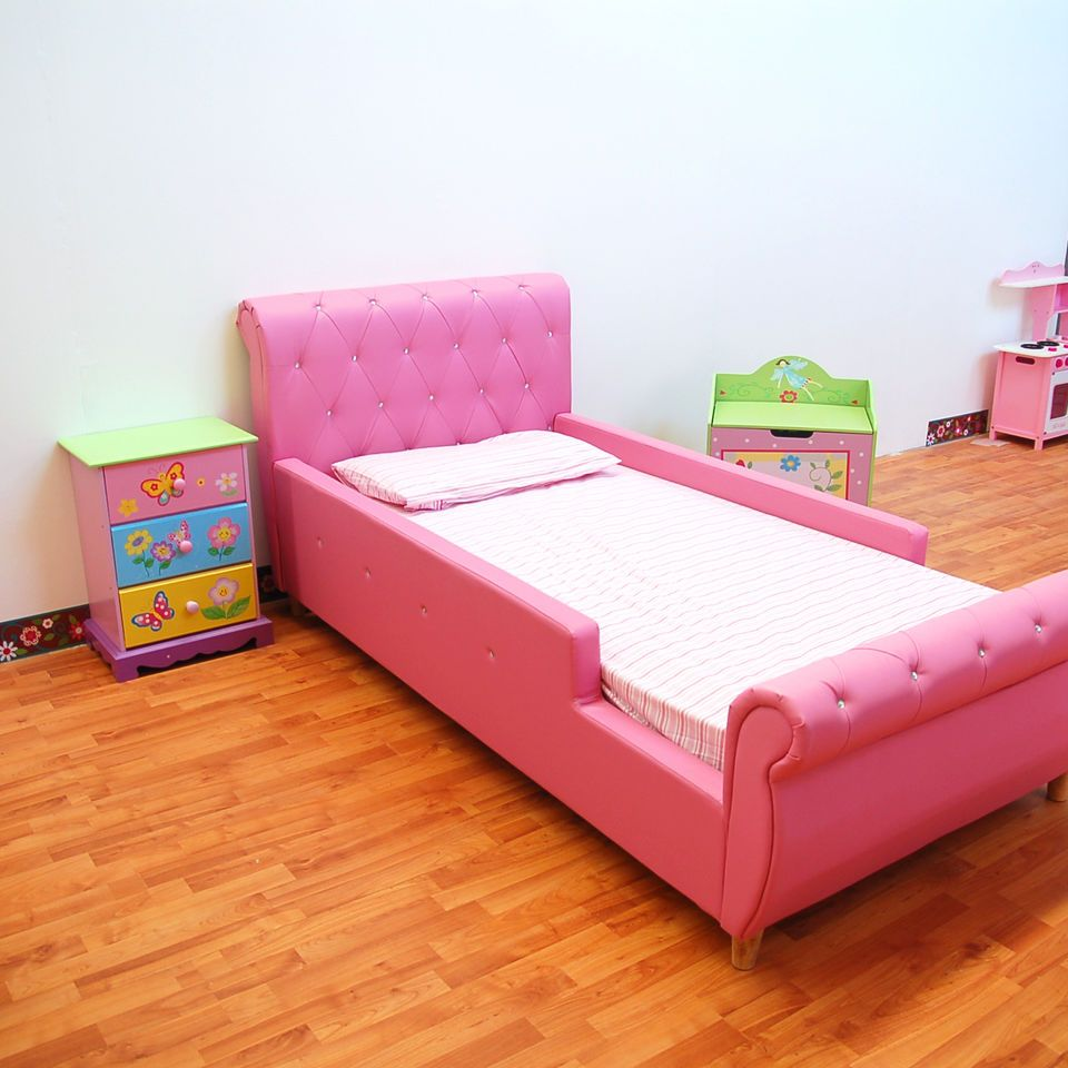 Girls Pu Leather Diamond Single Pink Upholstered Bed Bed Frame