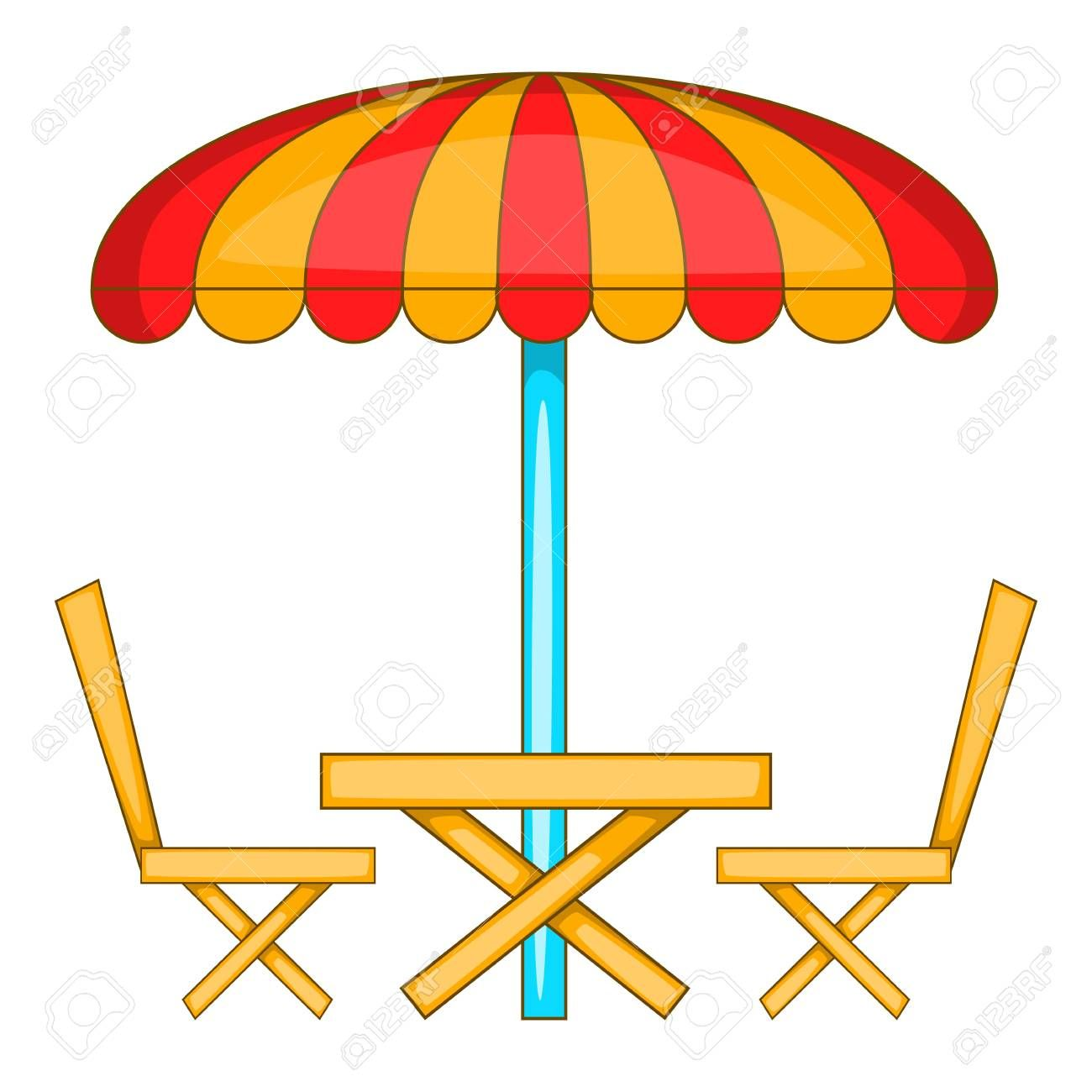 Cafe table with sun umbrella icon. Cartoon illustration of cafe ...
