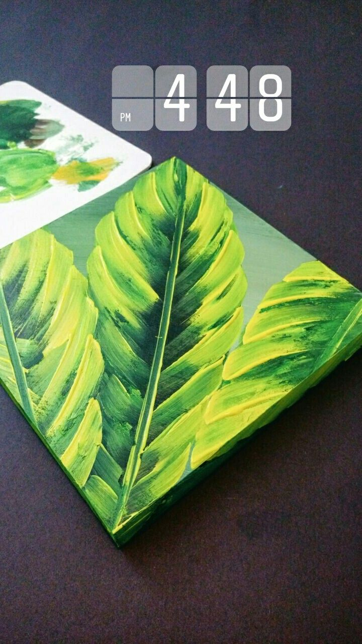 Simple Leaf Painting Acrylic Painting On Wooden Panel Plant Painting Simple Acrylic Paintings Painting Art Projects