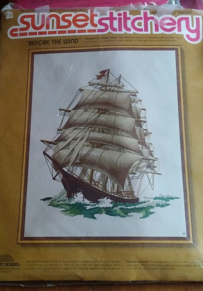 Vintage crewel kit Sunset Stitchery mid century nautical ship wall ...