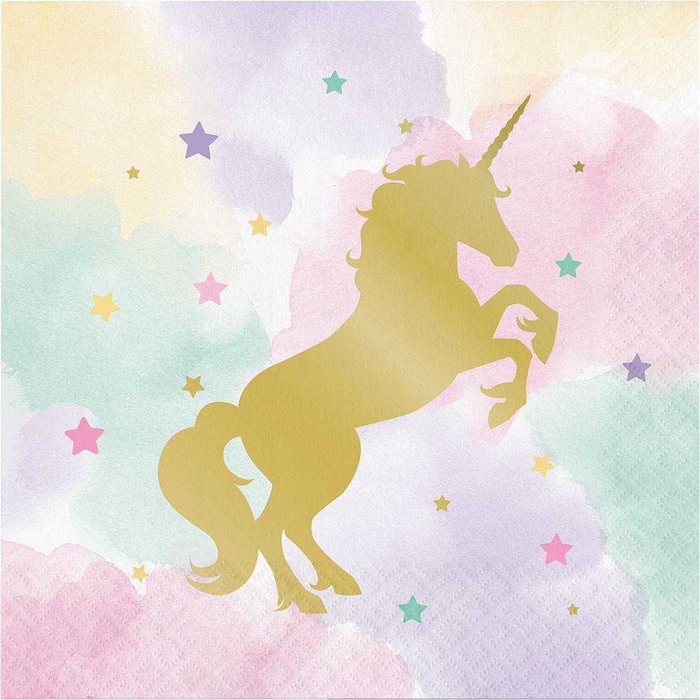 16 x Unicorn Sparkle Paper Napkins Unicorn Party Tableware Gold Foil ...