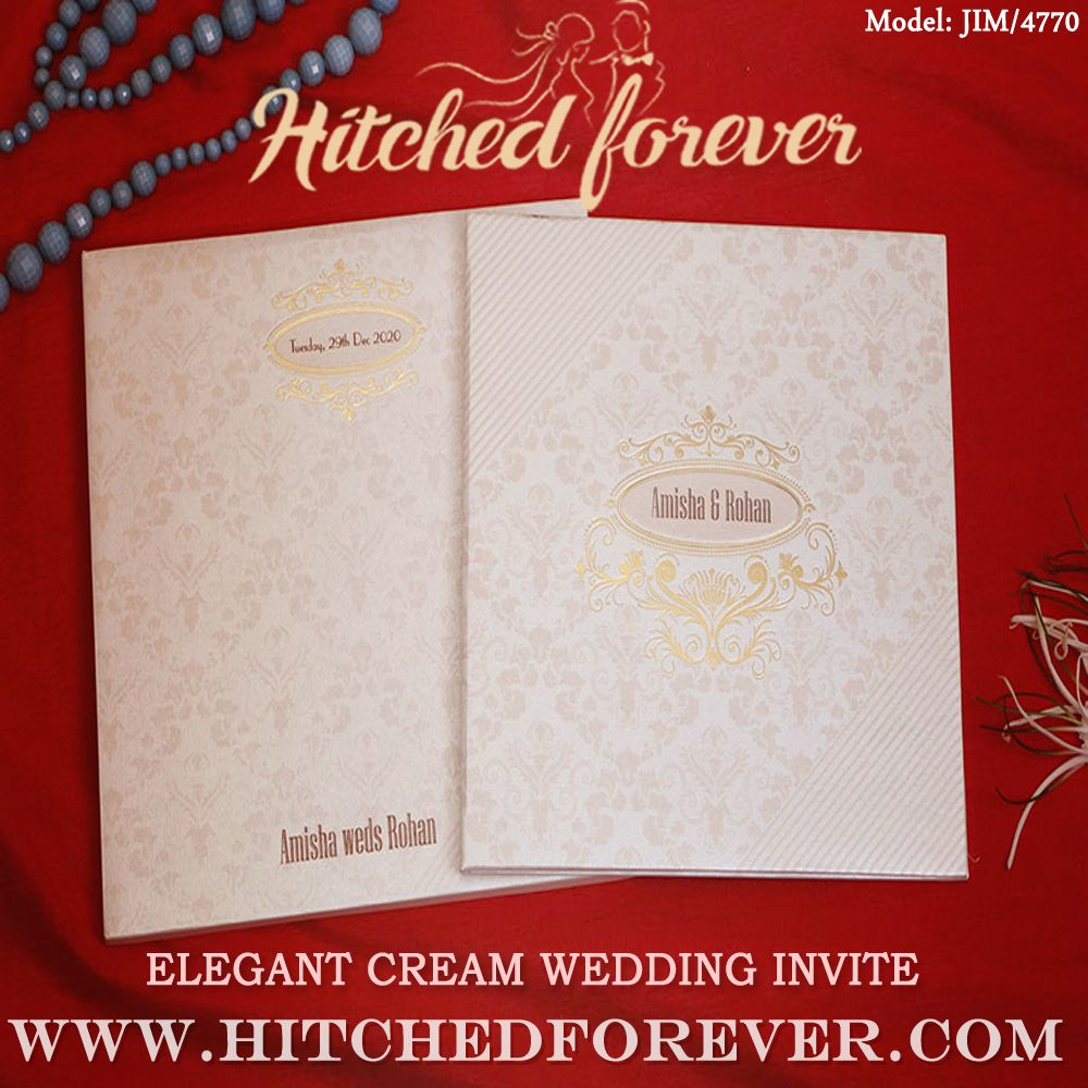 Elegant Cream Wedding Invite In 2020 Cream Wedding Wedding Invitations Wedding Invitation Design