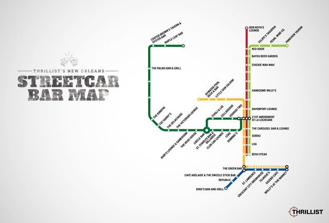 Streetcars In New Orleans Map.The Official New Orleans Streetcar Bar Map Now With The Rampart