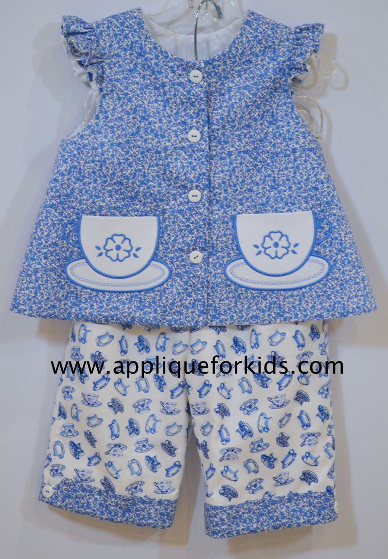 Fun tea cup print! Real tea cup pockets are from www.appliqueforkids.com