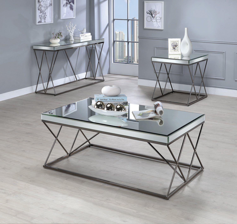 Best Coaster Black Nickel Mirrored Tabletop 3 Piece Coffee 400 x 300