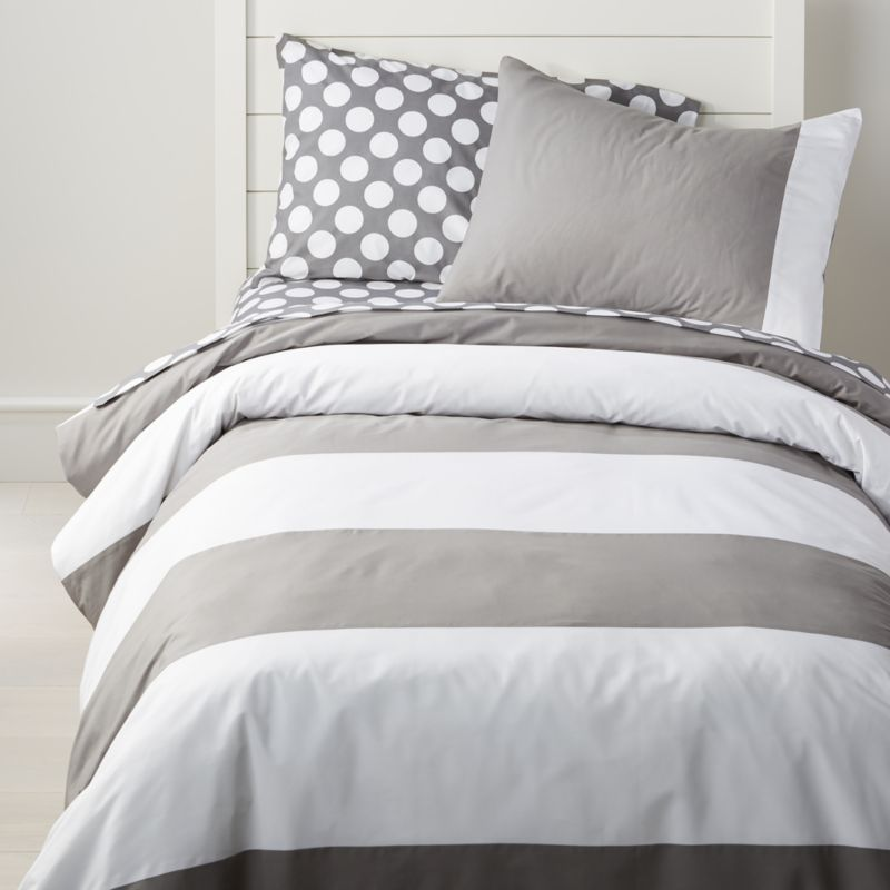 Grey And White Striped Duvet Cover Crate And Barrel Grey And