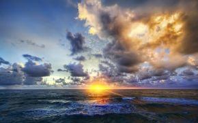 Himmel, Licht, Rays, Wellen, Wolken, HORIZON, Foto, Natur, DAWN, Meer, Sonnenuntergang