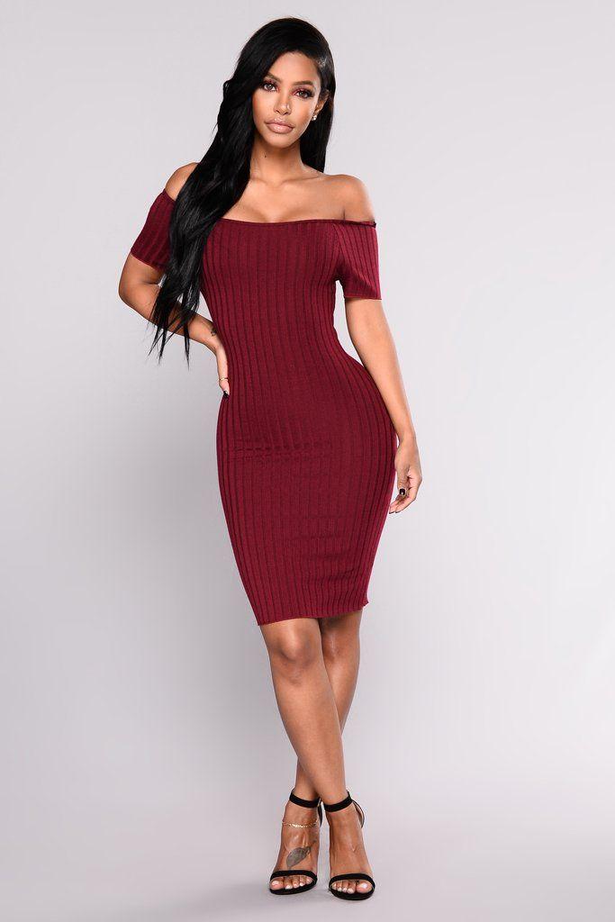 19583cf57334 Pollyanna Off Shoulder Dress - Wine in 2019